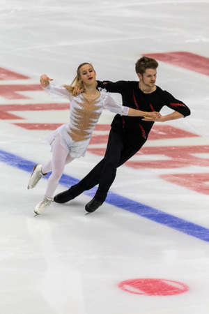 Minsk, Belarus –October 19, 2019: Couple of Lila-Maya Seclet Monchot and Renan Manceau from France Performs Ice dance Free Dance Program on Ice Star Championship in October 19, 2019, in Minsk, Belarus