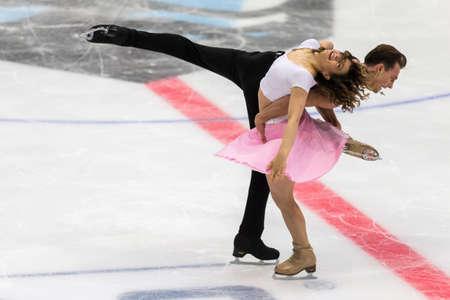 Minsk, Belarus –October 19, 2019: Couple of Natalia Kaliszek and Maksym Spodyriev from Poland Performs Ice dance Free Dance Program on Ice Star Championship in October 19, 2019, in Minsk, Belarus Éditoriale