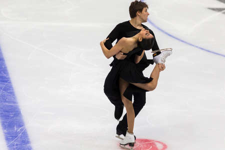 Minsk, Belarus –October 19, 2019: Couple of Sara Hurtado and Kirill Khaliavin from Spain Performs Ice dance Free Dance Program on Ice Star Championship in October 19, 2019, in Minsk, Belarus