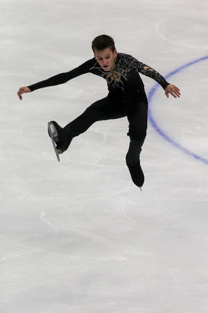 Minsk, Belarus –October 19, 2019: Figure Skater Artem Kovalev from Russia Performs Men Short Program on Ice Star Championship in October 19, 2019, in Minsk, Belarus