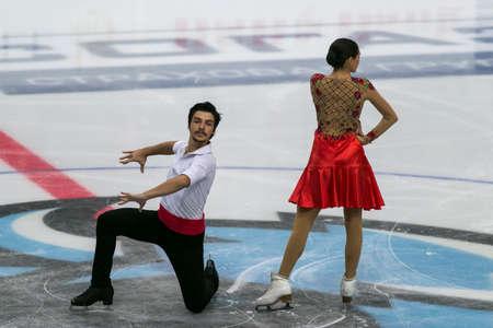 Minsk, Belarus –October 19, 2019: Couple of Nicole Kelly and Berk Akalin from Turkey Performs Ice dance Free Dance Program on Ice Star Championship in October 19, 2019, in Minsk, Belarus