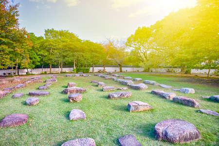 Foundation Stones of Tenshukaku or Donjon in Korakuen Garden in Okayama in Japan. Horizontal Image