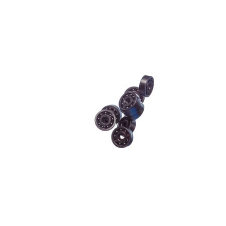 Large Amount of Ball Bearings Falling in Bulk Isolated Over White Background. Square Image Composition