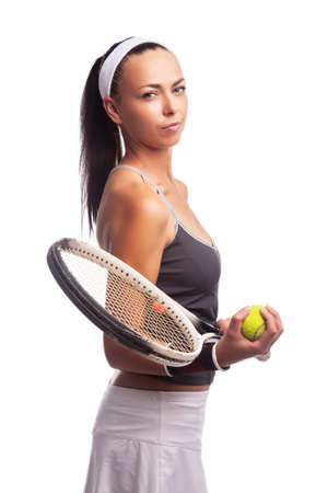 Sport Ideas. Portrait of Caucasian Female Tennis Player in Sport Outfit Posing With Lawn Racket Against White. Vertical Shot