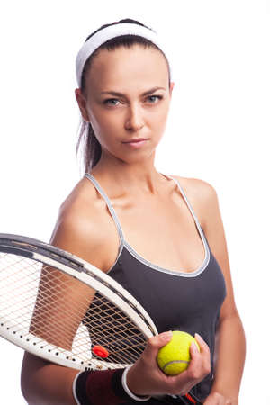 Sport Concepts. Portrait of Caucasian Female Tennis Player in Sport Outfit Posing With Lawn Racket Against White.Vertical Image