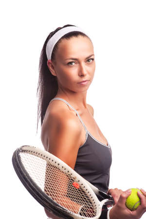 Sport Concepts. Portrait of Caucasian Female Tennis Player in Sport Outfit Posing With Lawn Racket Against White.Vertical Shot Reklamní fotografie
