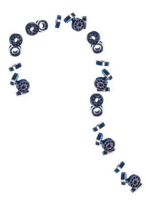 Large Amount of Ball-Bearings In Free Fall Bulk. Isolated Over White Background. Vertical Orientation