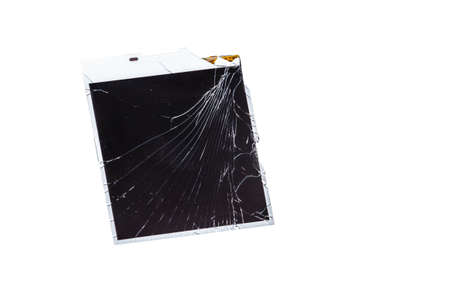 Technology Concepts. Closeup View of Modern Smartphone Broken LCD Touch Screen Isolated Over White Background. Horizontal Shot
