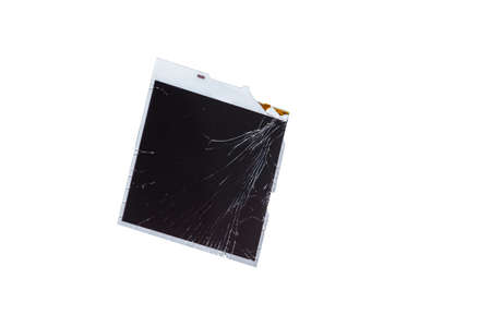 Technology Concepts. Closeup View of Modern Smartphone Broken LCD Touch Screen Isolated Over White Background. Horizontal Image