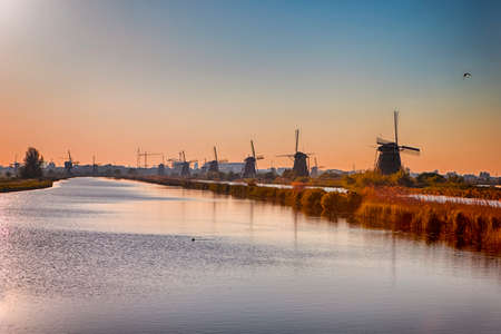 Line of Traditional Dutch Windmills in Kinderdijk Village in the Netherlands Before The Sunset. Horizontal Composition