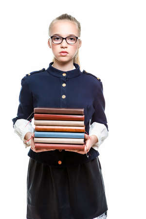 Portrait of Smiling Caucasian Teenager Girl Posing With Batch of Office Folders Against White Background. Horizontal Image