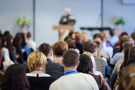 Large Group of People Listening At The Conference. Horizontal Image Composition