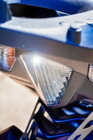 Rear Taillights of Modern Motorcycle. Vertical Image