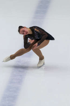 Minsk, Belarus – November 1, 2020: Professional Female Figure Skater Aleksandra Chepeleva from Belarus Performs Ladies Senior Free Skating Program on Ice Star Championship in November 1, 2020, in Minsk, Belarus 新聞圖片