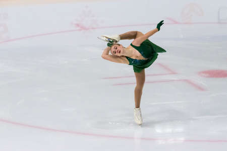 Minsk, Belarus – November 1, 2020: Professional Female Figure Skater Valeriia Sidorova from Armenia Performs Ladies Senior Free Skating Program on Ice Star Championship in November 1, 2020, in Minsk, Belarus 新聞圖片