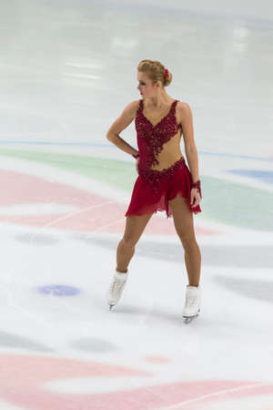Minsk, Belarus – November 1, 2020: Professional Female Figure Skater Antonina Dubinina from Serbia Performs Ladies Senior Free Skating Program on Ice Star Championship in November 1, 2020, in Minsk, Belarus