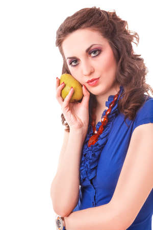 Portrait of Smiling Caucasian Female Posing with Long Green Pear Fruit.