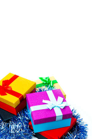 Celebration Concepts. Bunch of Colorful Wrapped Up Gift Boxes Placed In Line Against White Background.