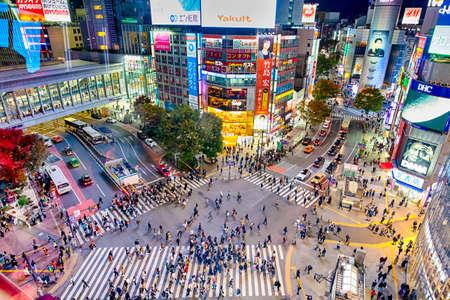 Tokyo, Japan - 12 November, 2019, Shibuya Crossing from Top Observation View at Twilight in Tokyo City, Japan at November 12, 2019