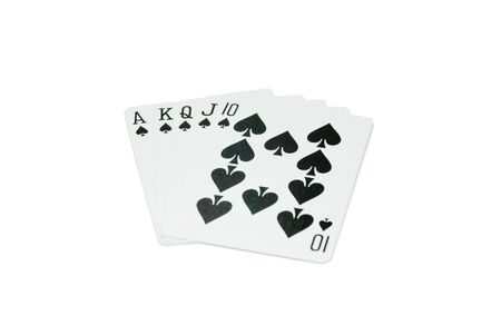 big slick: Playing cards isolated on a white background. Royal Flush in Spades.