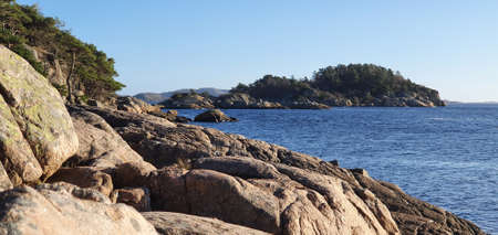 Sunny winters day at the southern most coast of Mandal, Norway