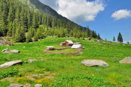 sheepfold: Wooden Sheepfold In Carpathian Mountains
