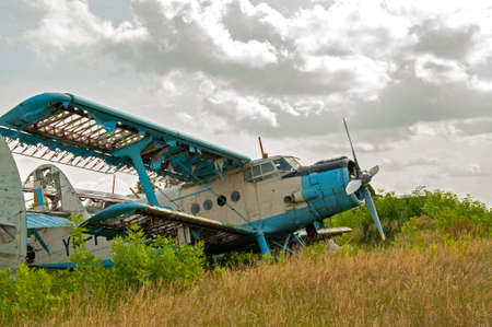 old plane: Abandoned old plane ruins Stock Photo