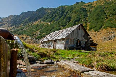 sheepfold: Wooden sheepfold in Carpathians mountains