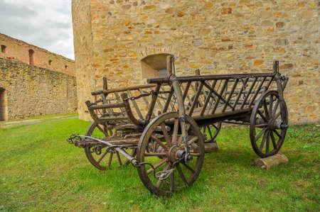 Old cart inside the medieval castle