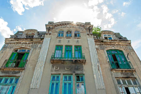 historically: Old building facade in historically city Tomis
