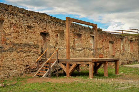 execution: Gallows and execution platform in medieval fortress Stock Photo