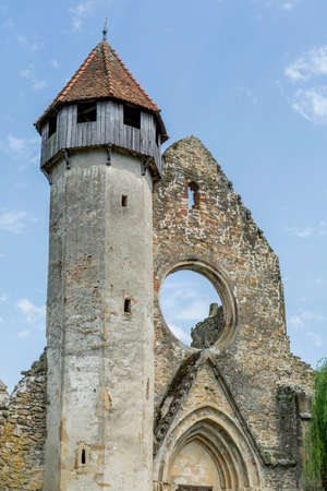 Ruins of medieval cistercian abbey in Transylvania, founded in 1202.Front view. Stock Photo