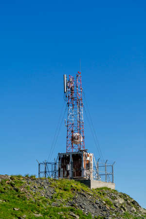 Old cellular communications antennas in the top of the mountains