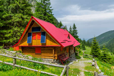 Mountain chalet with solar panels