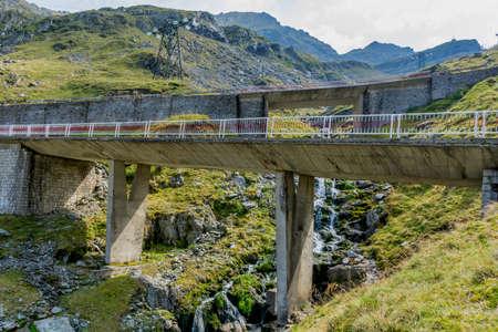 Bridges on high altitude mountain winding road.
