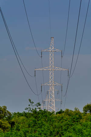 over voltage: High voltage transmission line pass over the forest