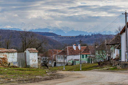Abandoned houses in saxon villages from Transylvania. Saxon village in Transylvania Romania 新聞圖片