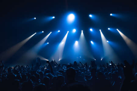 aplaudiendo: silhouettes of concert crowd in front of bright stage lights Foto de archivo