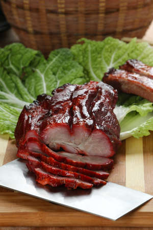 char: Cantonese cuisine Char siu  literally fork-roast on a cutting board