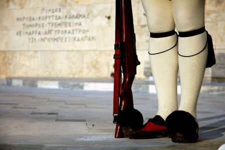Die Beine der Pr�sidentengarde (tsiolias) in Athen (Griechenland)