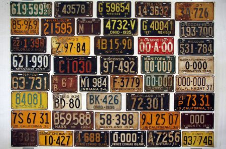 Licence numbers of old cars in a museum Stock Photo
