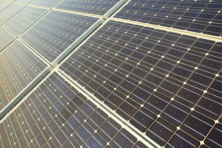 Photovoltaic cells in a solar panel - perspective view Stock Photo - 3340803