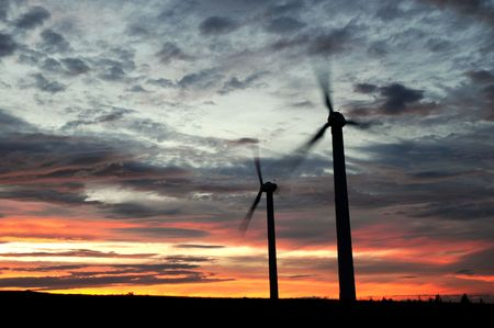 wind farm at dusk photo