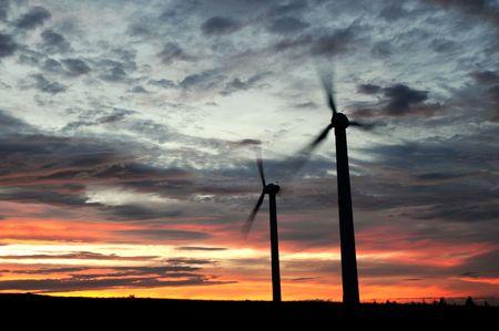 wind farm at dusk photo