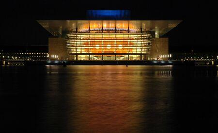 Nightshot of the new operahouse in Copenhagen Stock Photo