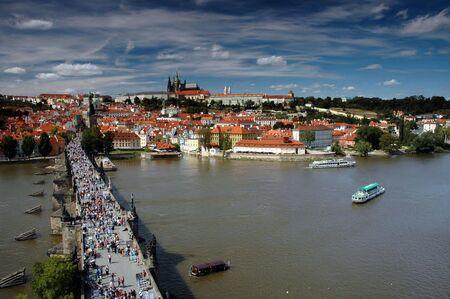 showplace: Prague castle and Charles bridge Stock Photo