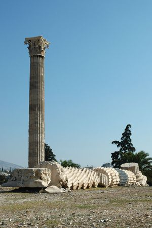 olympian: The ancient temple of Olympian Zeus in Athens (Greece)