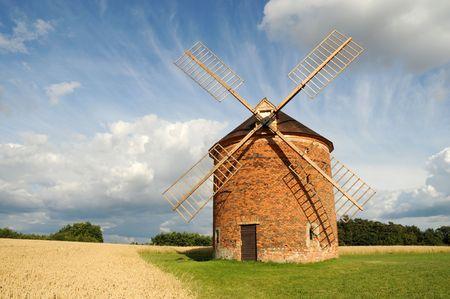 Windmill in Chvalkovice (Czech Republic) Stock Photo