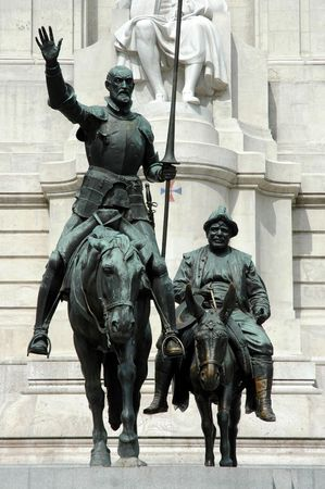 return trip: Spain Square in Madrid - Don Quijote and Sancho Panza (Spain)