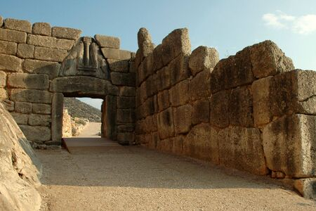 lintel: The Lions Gate of Mycenae (Greece) Stock Photo